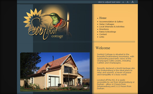 Sunbird Cottage website screenshot